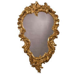 """Antique French Louis XV Period Carved and Gilded Mirror circa 1760 (28""""w x 47""""h)"""