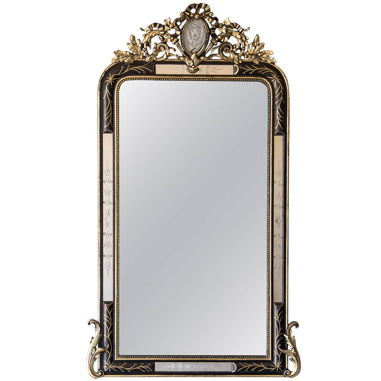 Antique French Napoleon III Ebonized and Gilded Mirror, circa 1875