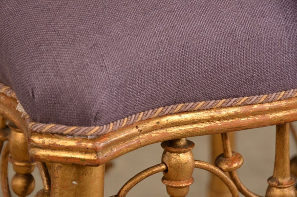 Belle Epoque period gold leaf tabouret from France c. 1895 In Excellent Condition For Sale In Houston, TX