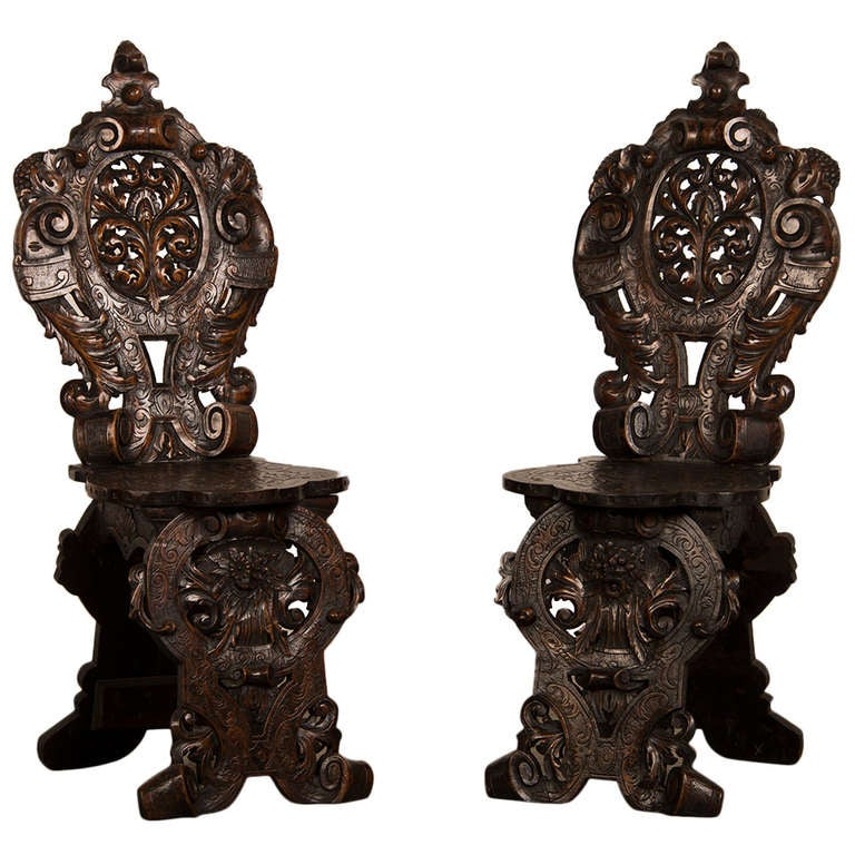 """Pair of Antique French """"Sgabello"""" Carved Oak Chairs circa 1875"""