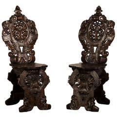 "Pair of Antique French ""Sgabello"" Carved Oak Chairs circa 1875"