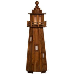 Vintage French Handmade Wood Lighthouse Floor Lamp circa 1950