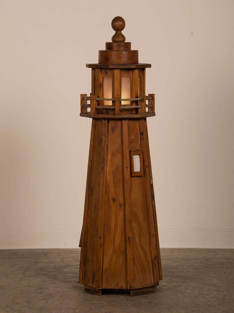 Vintage French Handmade Wood Lighthouse Floor Lamp Circa