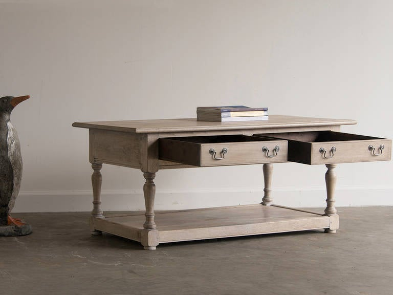 English Limed Oak Handmade Coffee Table For Sale At 1stdibs