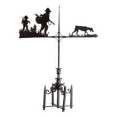 Enormous Handmade Antique French Iron Hunting Motif Weather Vane, circa 1900