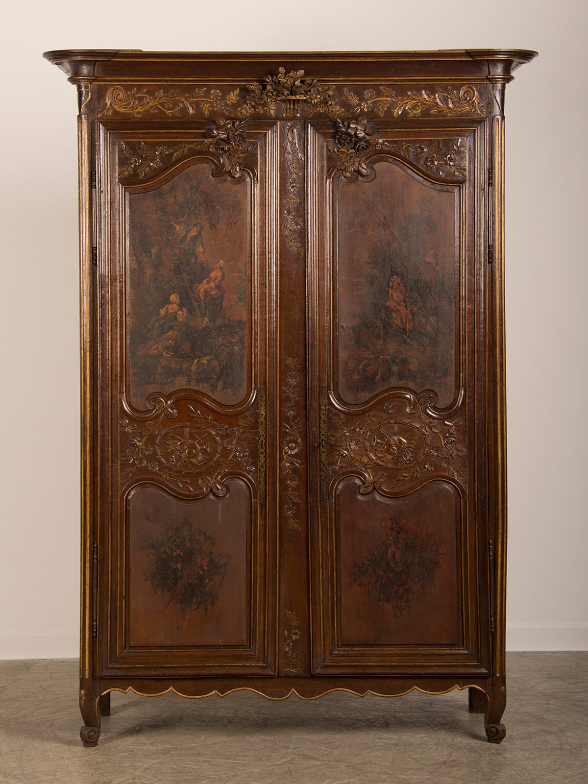 louis xv louis xvi marriage armoire original painted. Black Bedroom Furniture Sets. Home Design Ideas