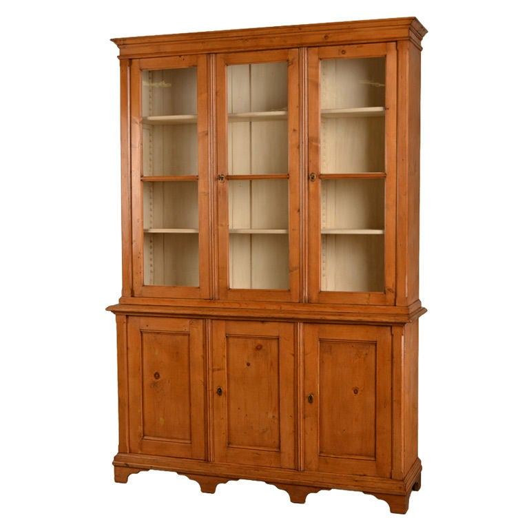 Antique English George III Style Pine Bookcase or Display Cabinet ...