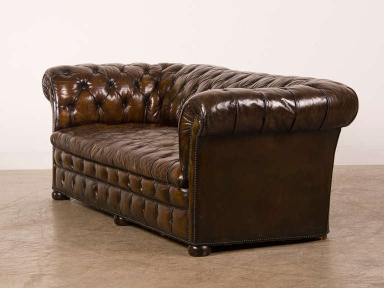 Leather Covered Vintage Chesterfield Sofa from England ca 1940 at 1stdibs