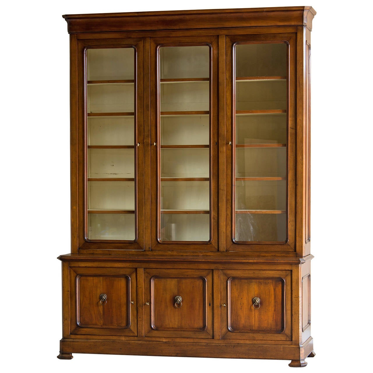 Louis Philippe Open Bookcase: Louis Philippe Cherrywood Bookcase Or Bibliothèque, France