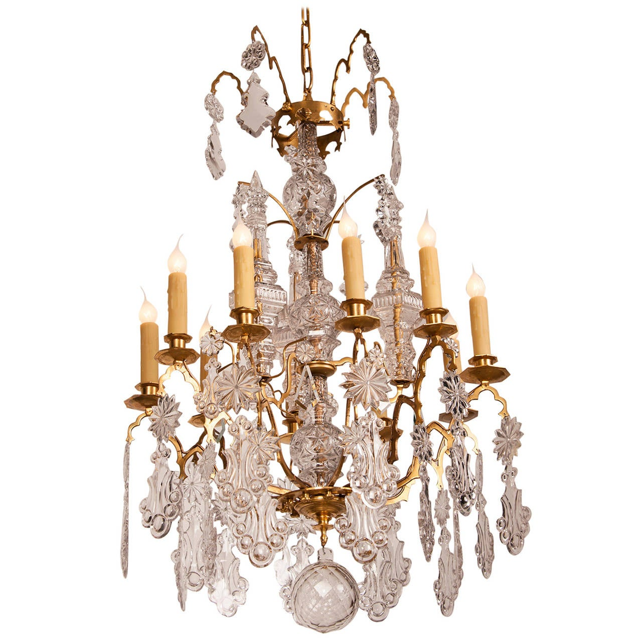 Louis xv crystal gilded brass ten light antique french chandelier circa 1875 for sale at 1stdibs - Circa lighting chandeliers ...