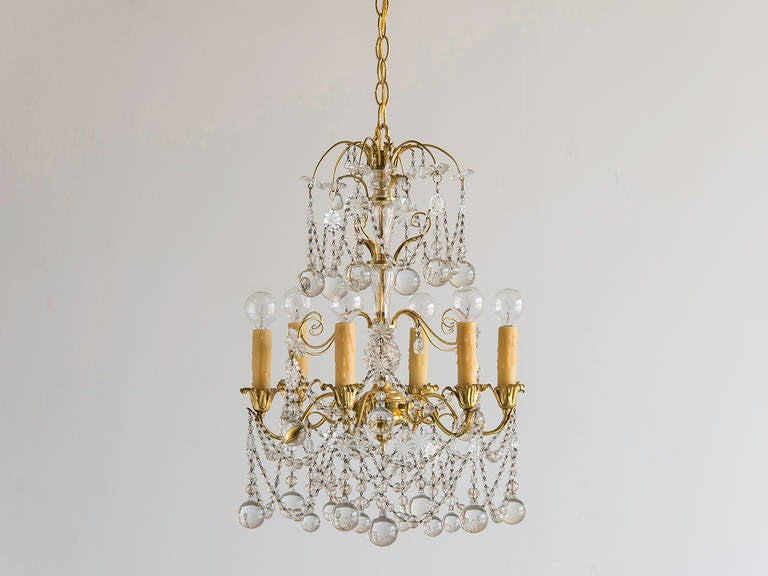 Vintage Gilded Brass And Crystal Six Arm Chandelier