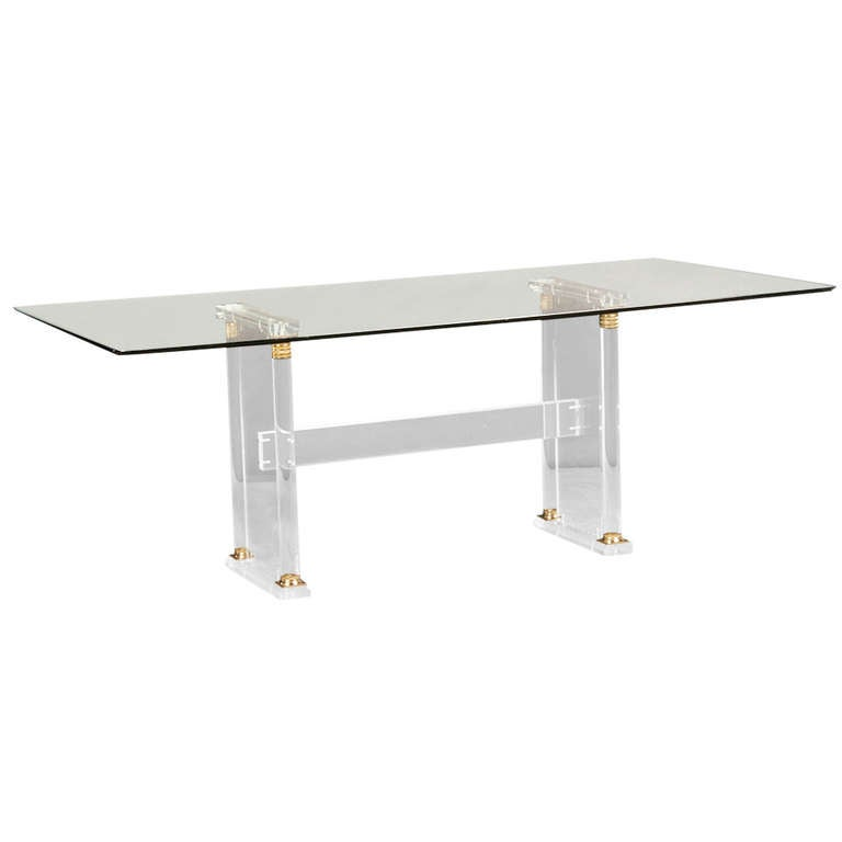 Vintage French Mid-Century Modern Lucite and Glass Table, circa 1960