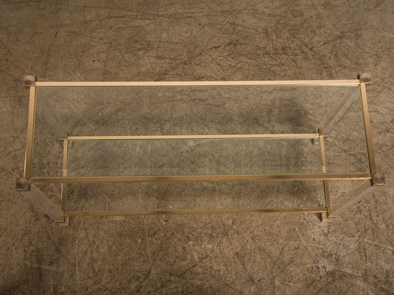 pierre vandel perspex and brass console table paris france at 1stdibs. Black Bedroom Furniture Sets. Home Design Ideas