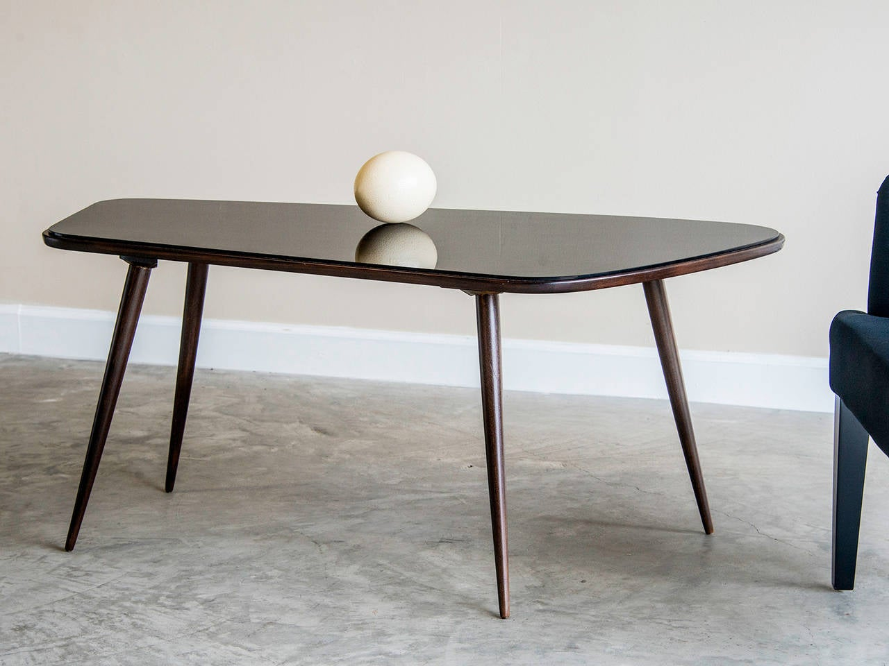Asymmetrical Vintage French Coffee Table, Rosewood And Black Glass, Circa  1950 3