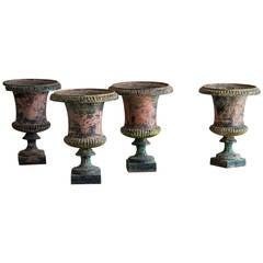 Set of Four Antique Italian Campana Style Cast Iron Urns, circa 1875