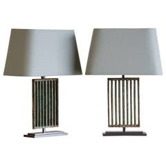 Pair of Art Deco Period Solid Iron Vintage French Grille Lamps, circa 1930