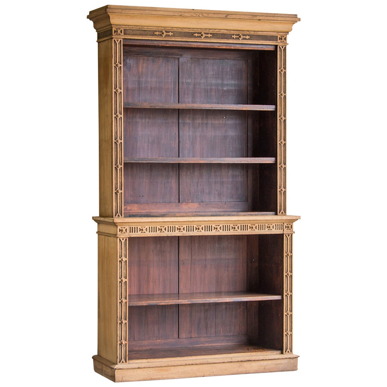 Antique French Louis Philippe Oak Bibliotheque Display Cabinet Circa 1850 1