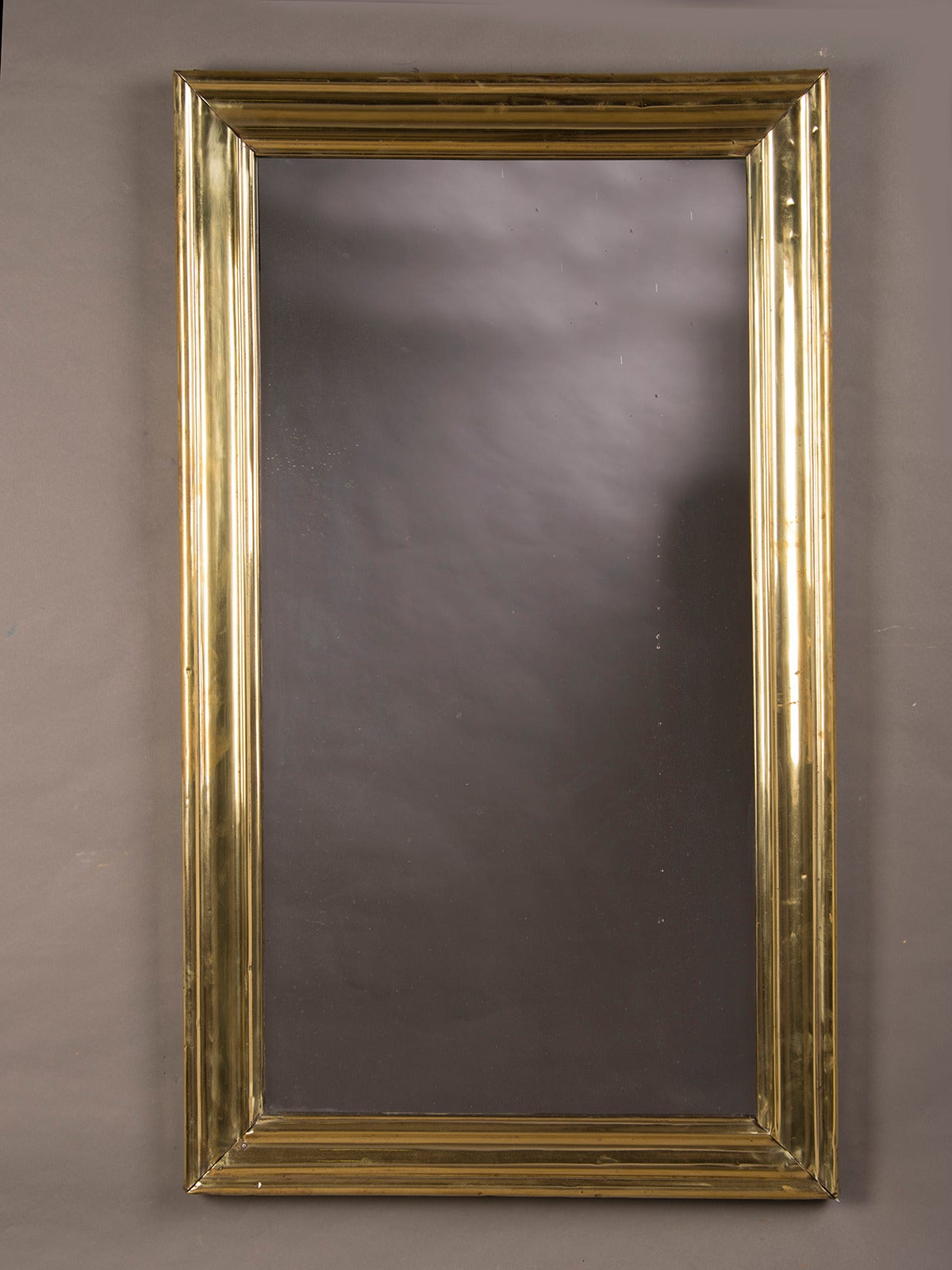 Brass Ribbed Frame Antique French Bistro Mirror Circa