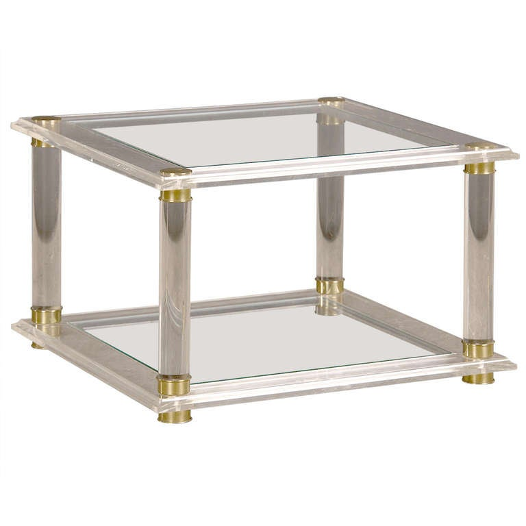 Vintage French Mid-Century Modern Lucite and Glass Side Table, circa 1975