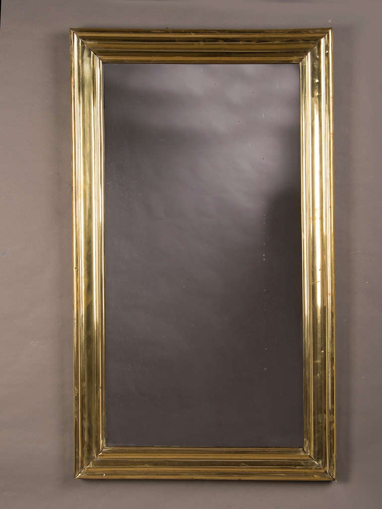 Brass Ribbed Frame Antique French Bistro Mirror Circa 1875