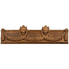 French Louis XVI Period Oak Carving circa 1790 with Lion Heads and Swag