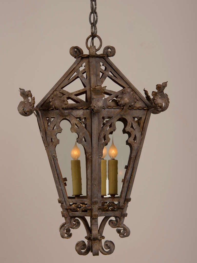 Pair Of Painted Gothic Style Wrought Iron Lanterns Found