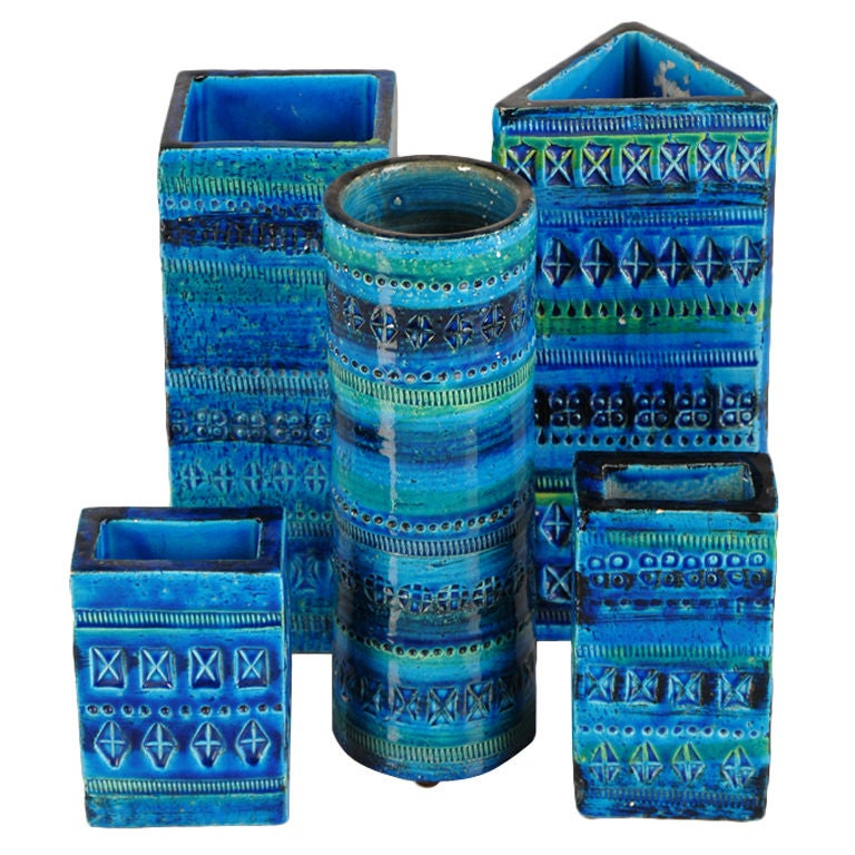 A collection of glazed earthenware vessels from Italy c.1965 For Sale