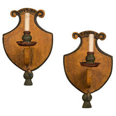 Pair of Antique Italian Wooden Sconces circa 1870 Original Painted Finish