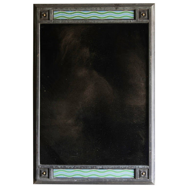 "Vintage French Art Deco Bronze and Enamel Mirror circa 1930 (32""w x 47 1/2""h)"