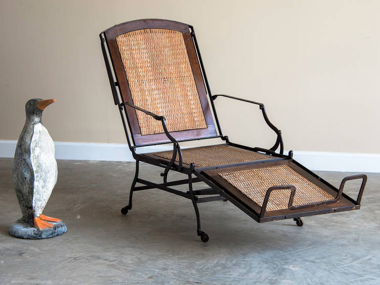 Antique iron frame chaise longue cane seat back for Cane chaise longue