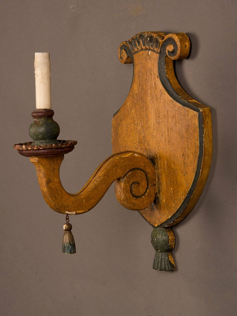 Antique Wood Wall Sconces : Pair of Antique Italian Wooden Sconces circa 1870 Original Painted Finish For Sale at 1stdibs