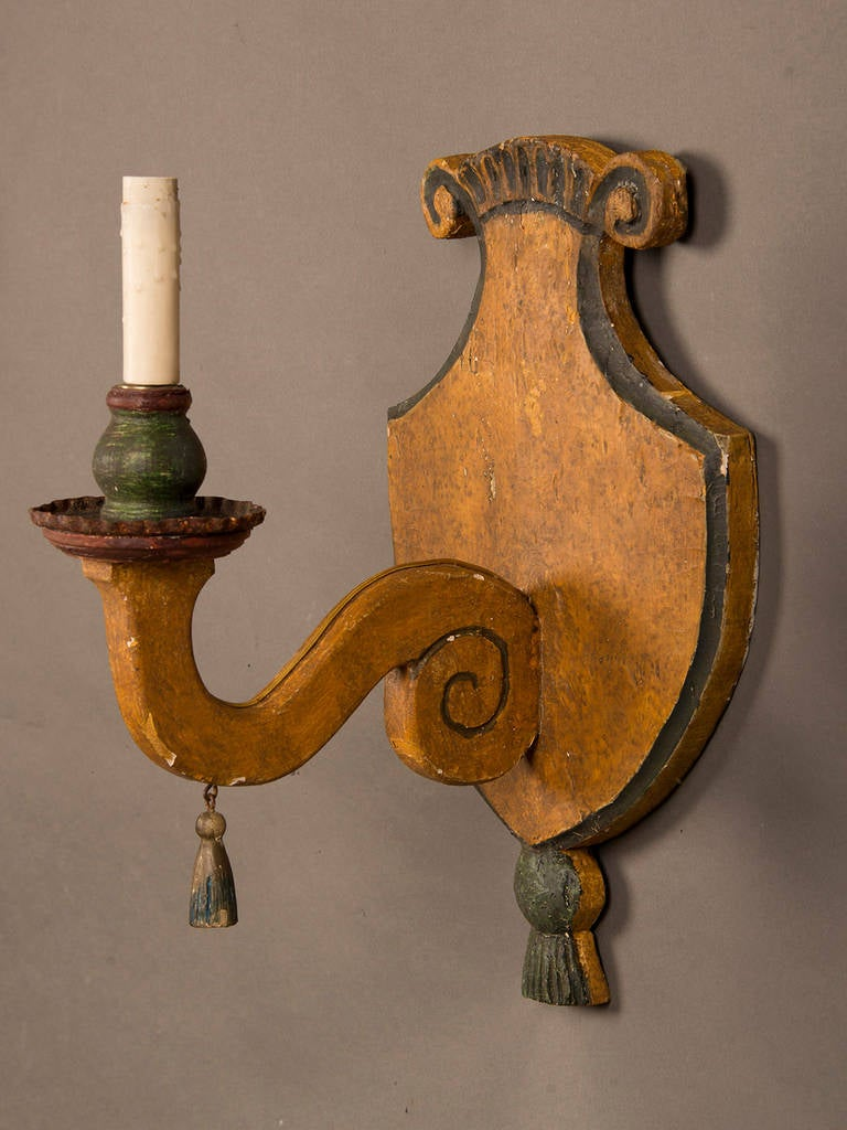 Pair of Antique Italian Wooden Sconces circa 1870 Original Painted Finish For Sale at 1stdibs