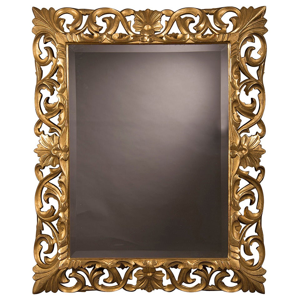 Antique french baroque style gold beveled mirror 1875 35 for Antique style wall mirror