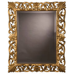 "Antique French Baroque Style Gold Beveled Mirror, 1875 (35 1/2""w x 43 1/2""h)"