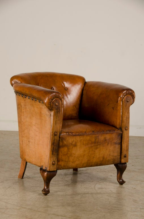 An Art Moderne Period Leather Armchair From France C 1940