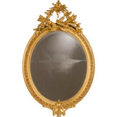 Lavish Antique French Louis XVI Style Oval Gold Leaf Mirror, circa 1880