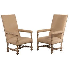 Antique French Henri II Style Carved Oak Pair of Armchairs, circa 1880