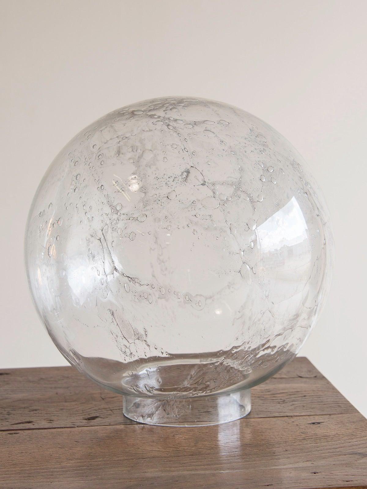 vintage italian doria hand blown glass sphere on chrome. Black Bedroom Furniture Sets. Home Design Ideas
