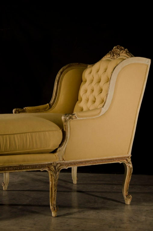 A beautiful louis xv style chaise longue from france c for Chaise francaise
