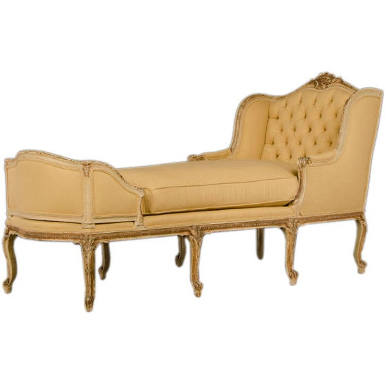 a beautiful louis xv style chaise longue from france c. Black Bedroom Furniture Sets. Home Design Ideas