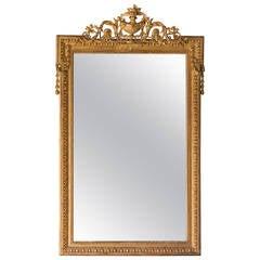 "Antique French Napoleon III Style Gold Leaf Mirror,  circa 1880 (40""w x 63"")"