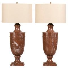 Pair of Antique Italian Neoclassical Marble Urn Lamps, circa 1890