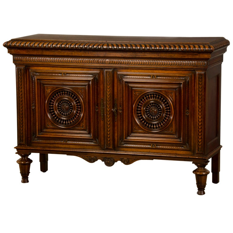 breton carved mahogany buffet bas d 39 armoire from nantes. Black Bedroom Furniture Sets. Home Design Ideas