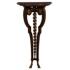 French Antique Neoclassical Gilded Walnut Console Table, Marble Top circa 1875