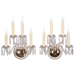 Pair of George III Style Vintage English Four-Arm Crystal Sconces, circa 1940