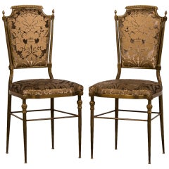 Pair of Vintage Italian Neoclassical Brass Side Chairs circa 1940