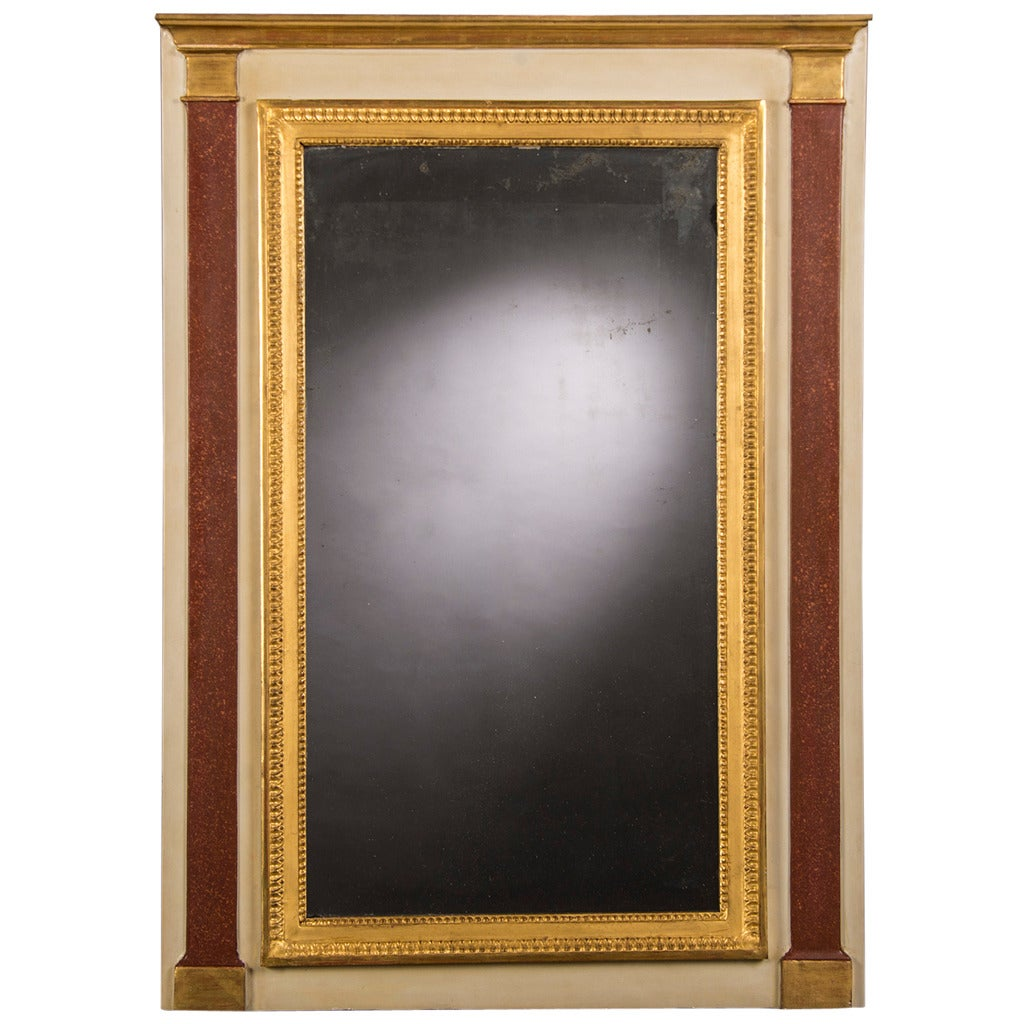 """Antique French Directoire Period Painted Gold Mirror, circa 1800 (32""""W x 45""""H)"""