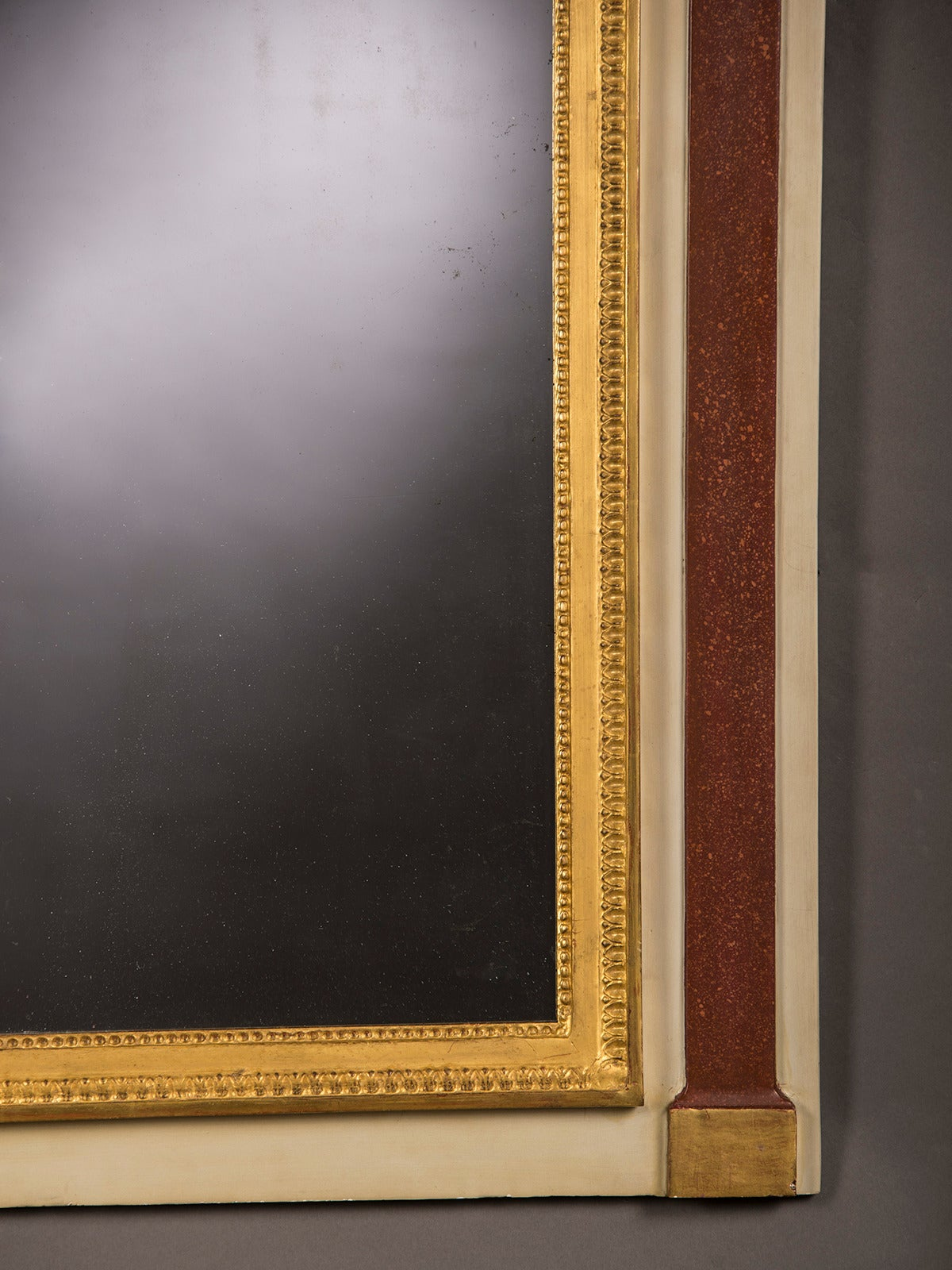 Antique French Directoire Period Painted Gold Mirror