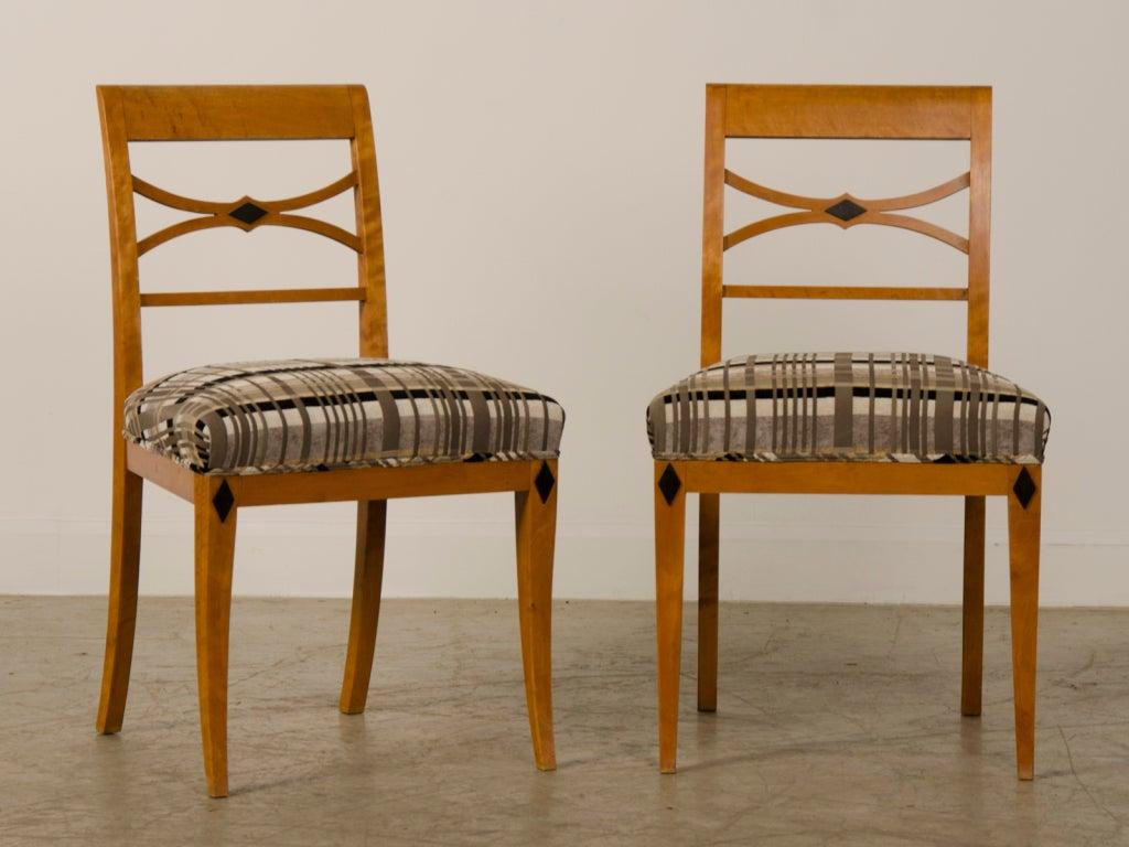 Biedermeier Period Figured Birchwood Pair Of Side Chairs Austria At 1stdibs
