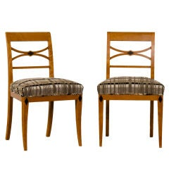 Pair of Antique Austrian Biedermeier Period Birchwood Side Chairs, circa 1830